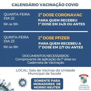 Vacinação Covid - Confira o calendário de aplicação da segunda dose nesta semana