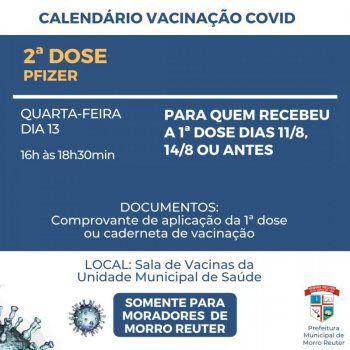 Vacinação Covid: Morro Reuter tem segunda dose Pfizer nesta quarta