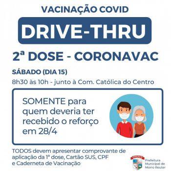 Drive-thru de segunda dose da Coronavac é neste sábado